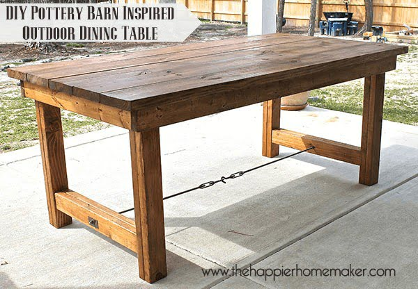 DIY Pottery Barn Inspired Dining Table #DIY #patio #outdoors #backyard #furniture