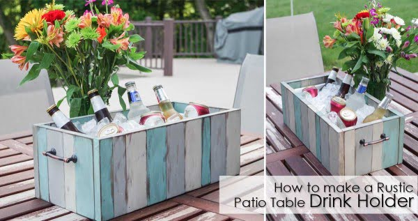 How to Make a Rustic Patio Table Drink Holder #DIY #patio #outdoors #backyard #furniture
