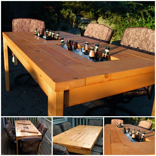 Wonderful DIY Patio Table with Built-in Wine Cooler #DIY #patio #outdoors #backyard #furniture