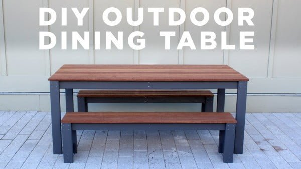 DIY Modern Outdoor Table and Benches #DIY #patio #outdoors #backyard #furniture