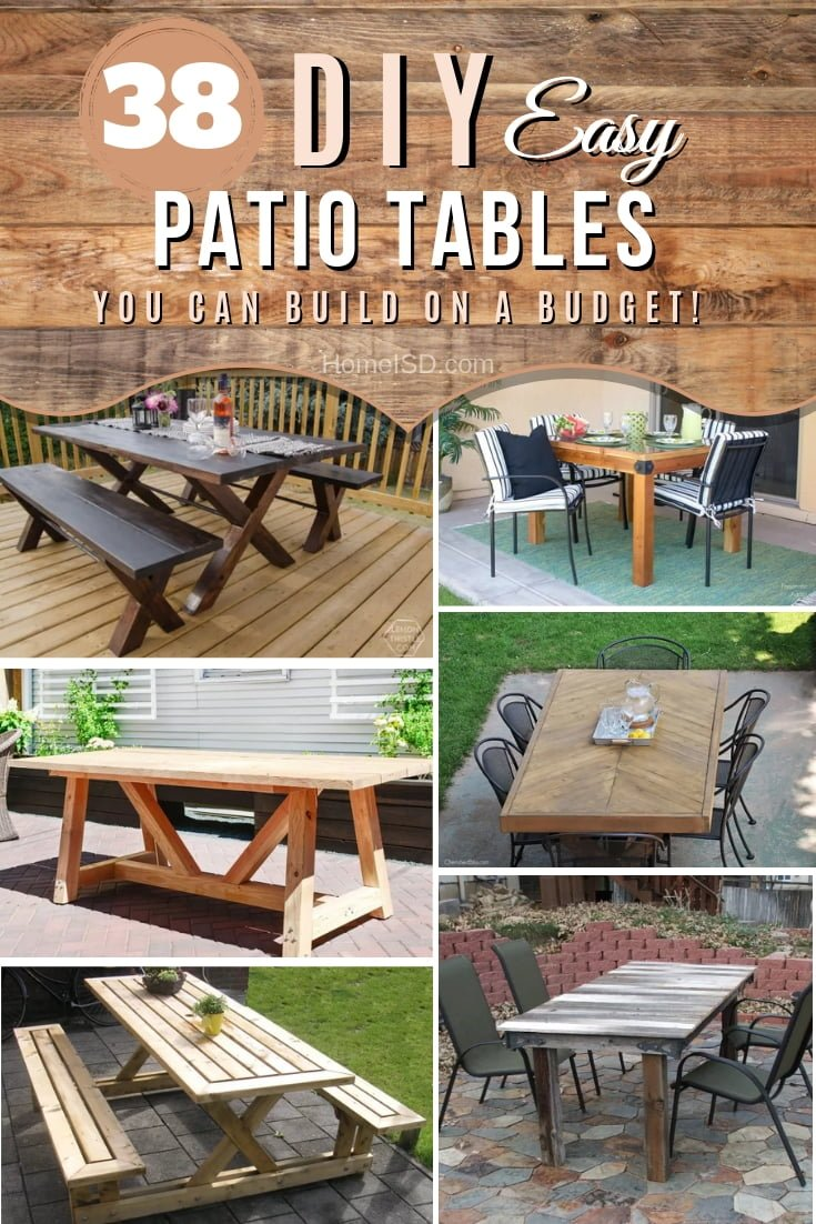 Get ready for the BBQ season and accommodate the best outings with these great DIY patio table project ideas. Great list! #DIY #patio #furniture #backyard