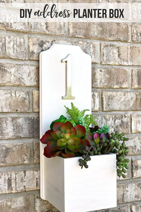 Address Planter Box DIY Tutorial with Faux Succulents   ing