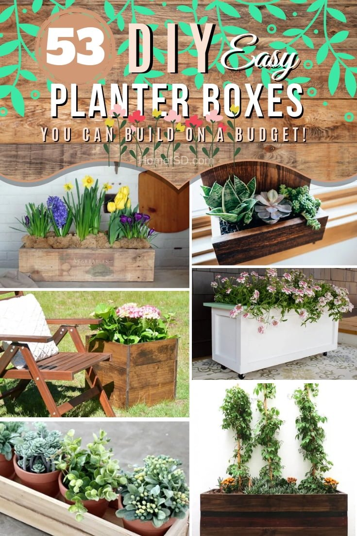 Make these easy and creative DIY planter boxes for your home and garden. Great list of ideas! #DIY #garden #homedecor