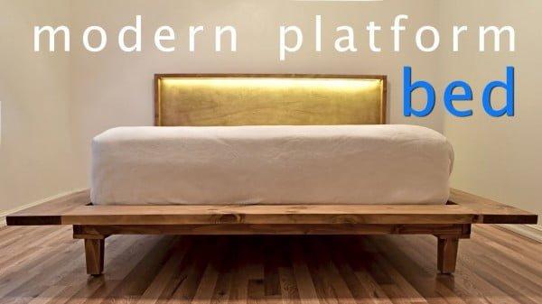 How to Build a Modern Platform Bed w/ Lights | Queen Bed | DIY #diy #homedecor #bedroomdecor
