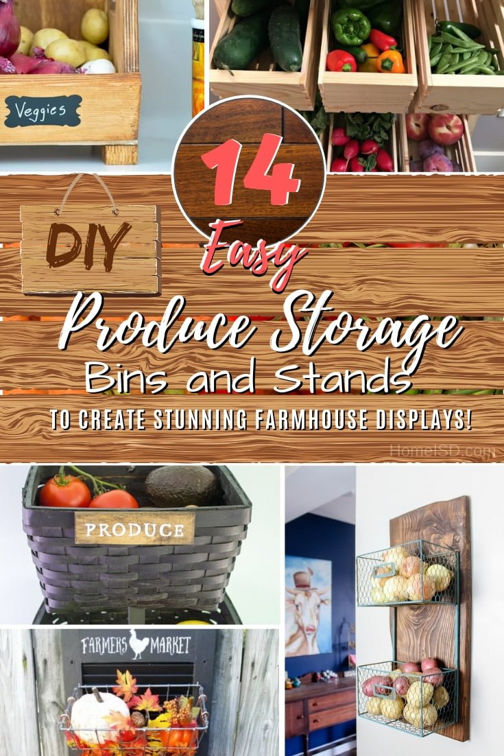Store your produce in the kitchen with a display decor feature. Build one of these brilliant DIY produce bins and stands. Great list of ideas! #DIY #farmhouse #rustic #storage #organize #kitchen #homedecor