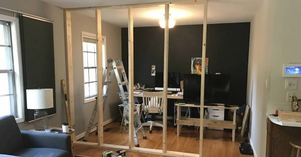 Clever Husband Spends $50 On Wood To Make Incredible Room Divider