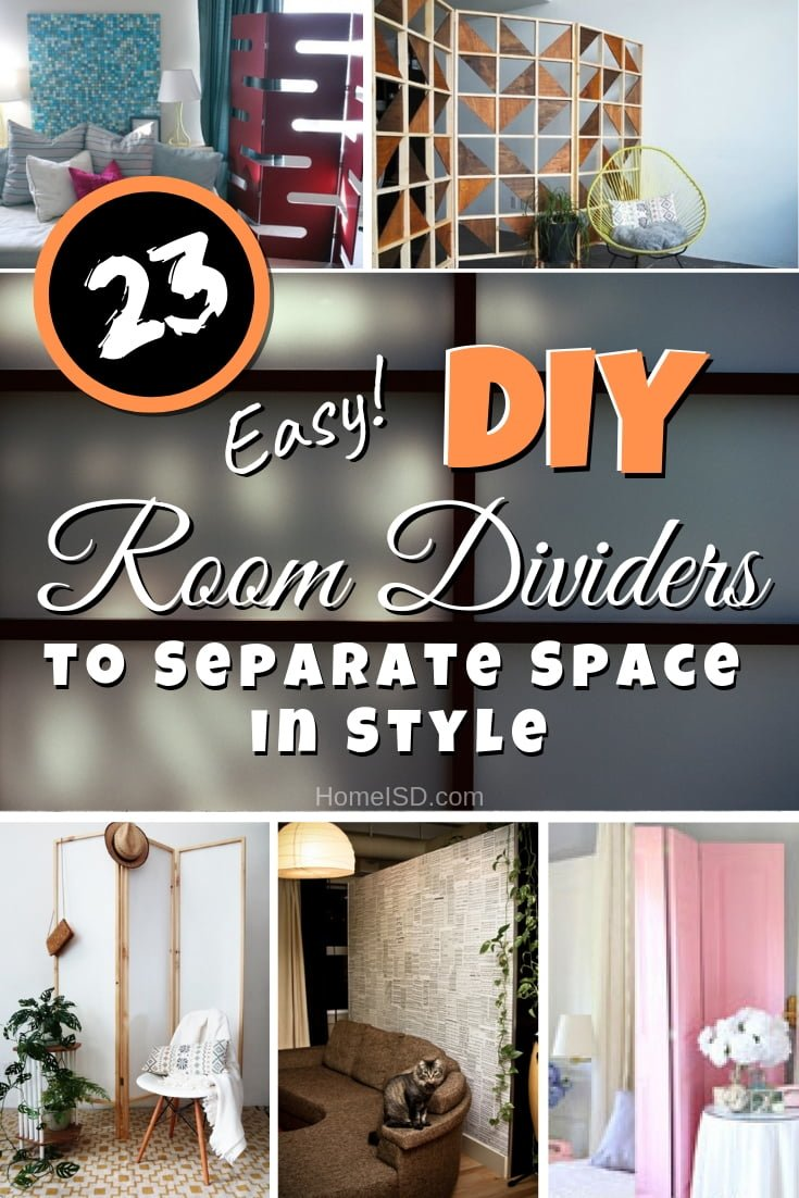 Divide open space in style with one of these great DIY room dividers. Great list of 23 ideas! #DIY #homedecor #organize