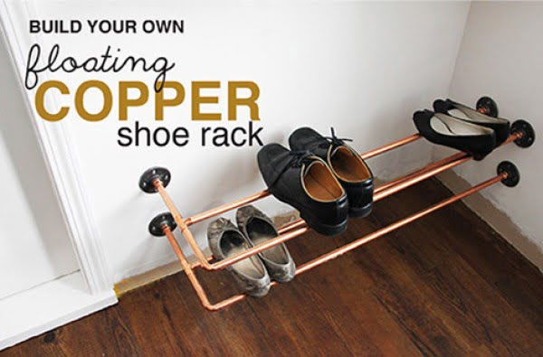 DIY copper shoe rack how-to #DIY #homedecor #organization