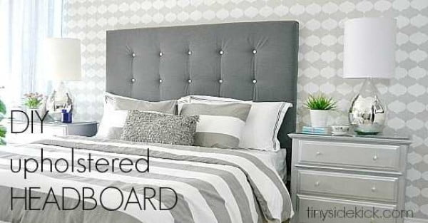DIY Upholstered Headboard with a High End Look! #diy #homedecor #bedroomdecor