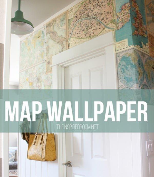 My DIY Map Wallpaper {Small Hallway} #DIY #walldecor #homedecor