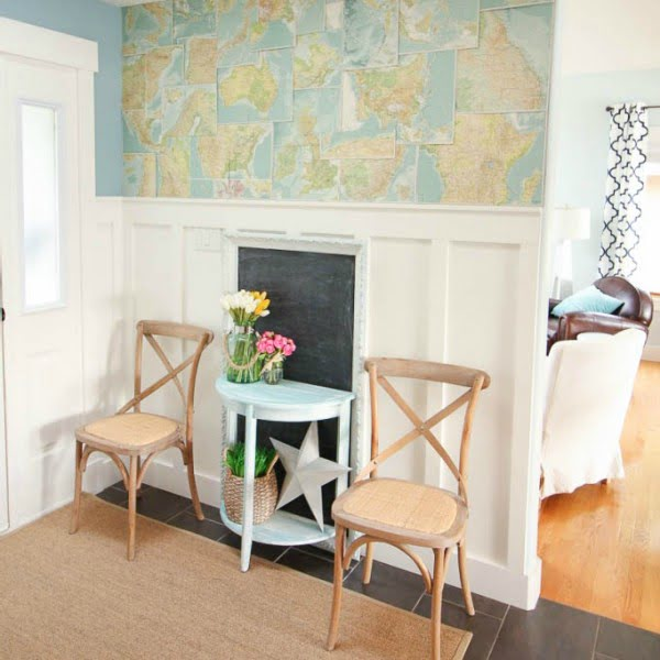 Tweaking the Entry Hall with DIY Faux Map Wallpaper #DIY #walldecor #homedecor