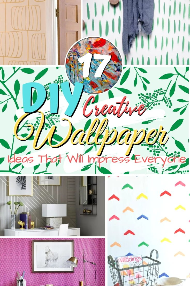 Make DIY wallpaper using these brilliant ideas. Great ideas for renters and creative decorators. Awesome list! #homedecor #DIY #walldecor