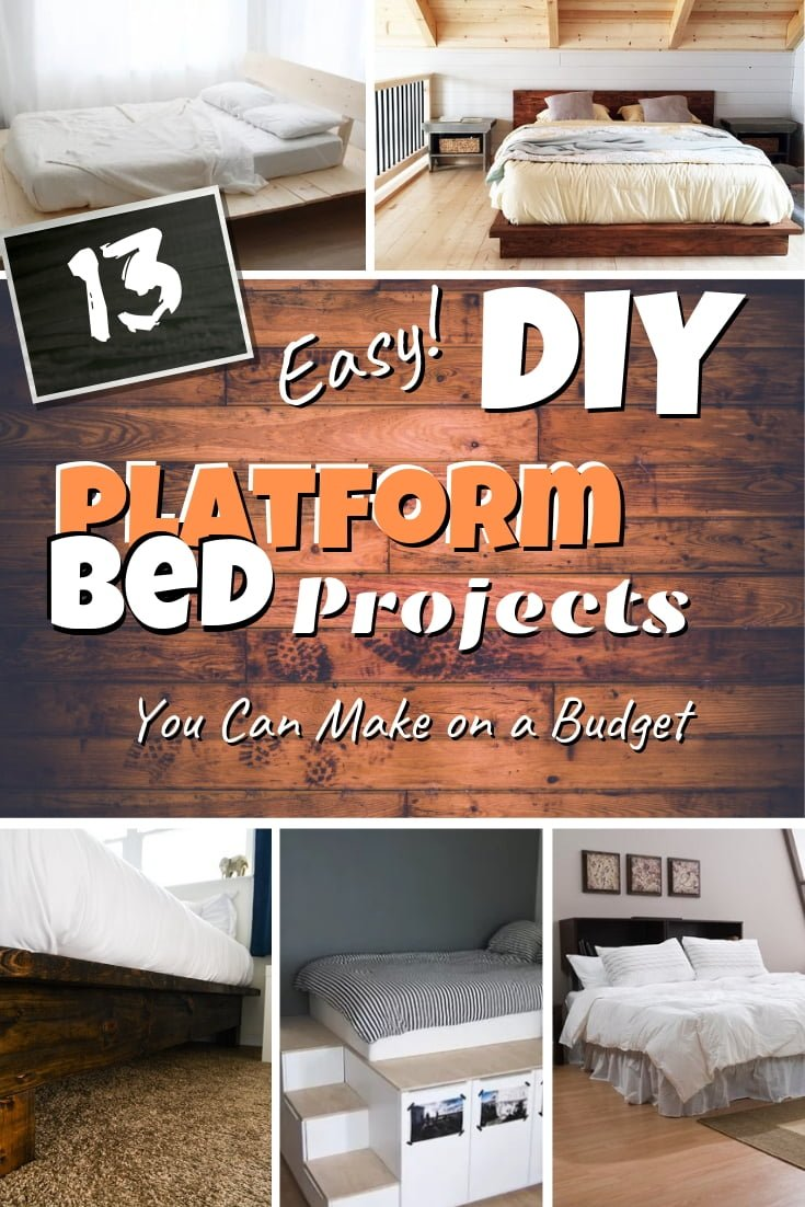 Here's how to make a DIY platform bed the easy way. A great list of 13 brilliant ideas with tutorials. Worth saving! #DIY #homedecor #bedroomdecor #furniture