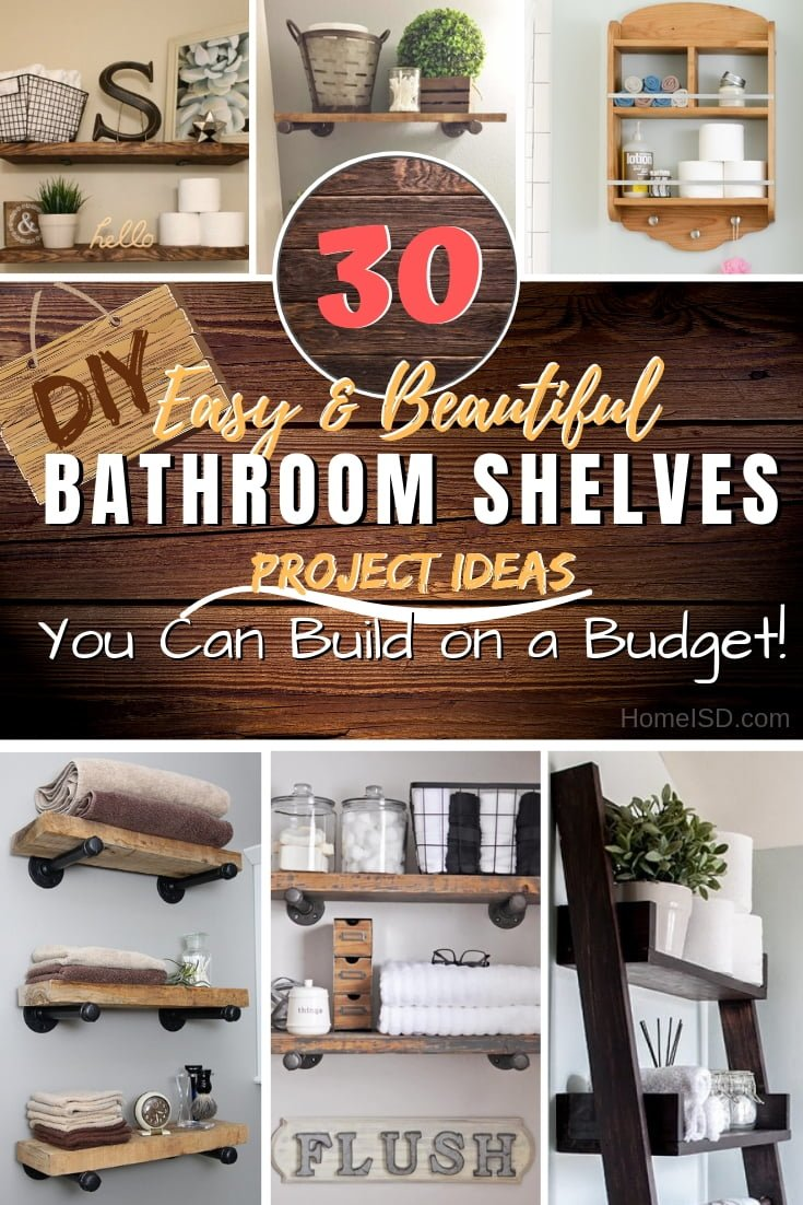 Double, triple, or even quadruple your bathroom storage space by building beautiful DIY bathroom shelves. Great ideas! #bathroom #bathroomdecor #DIY #woodworking #storage #organize #homedecor