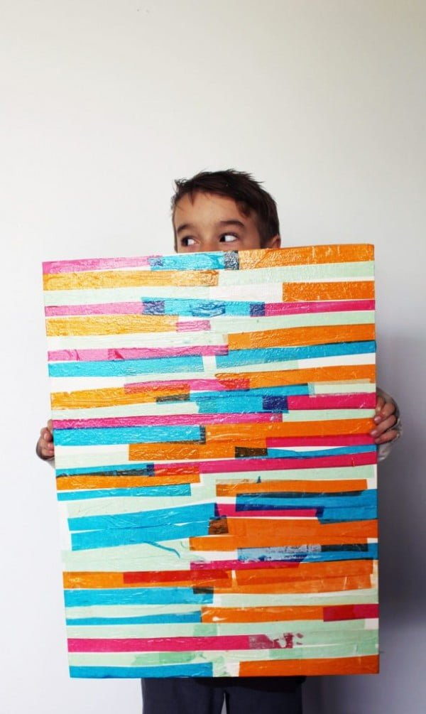 DIY Abstract Art for Kids with Tissue Paper
