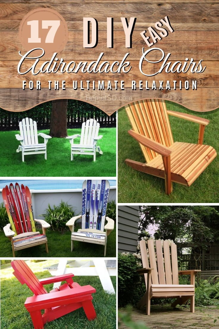 If you like to relax you need to build these DIY Adirondack chairs. They are easy enough for beginners. Great list! #DIY #woodworking #furniture