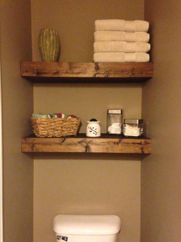 Reclaimed Pallet Wood DIY Floating Bathroom Shelves   decor