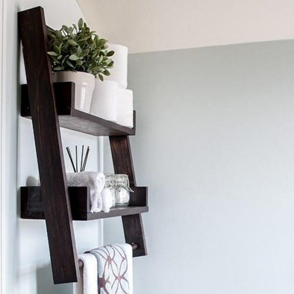 DIY Floating Ladder Shelf   decor