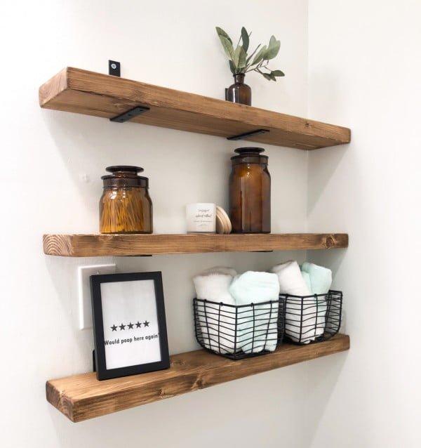 DIY Bathroom Shelves Tutorial   decor