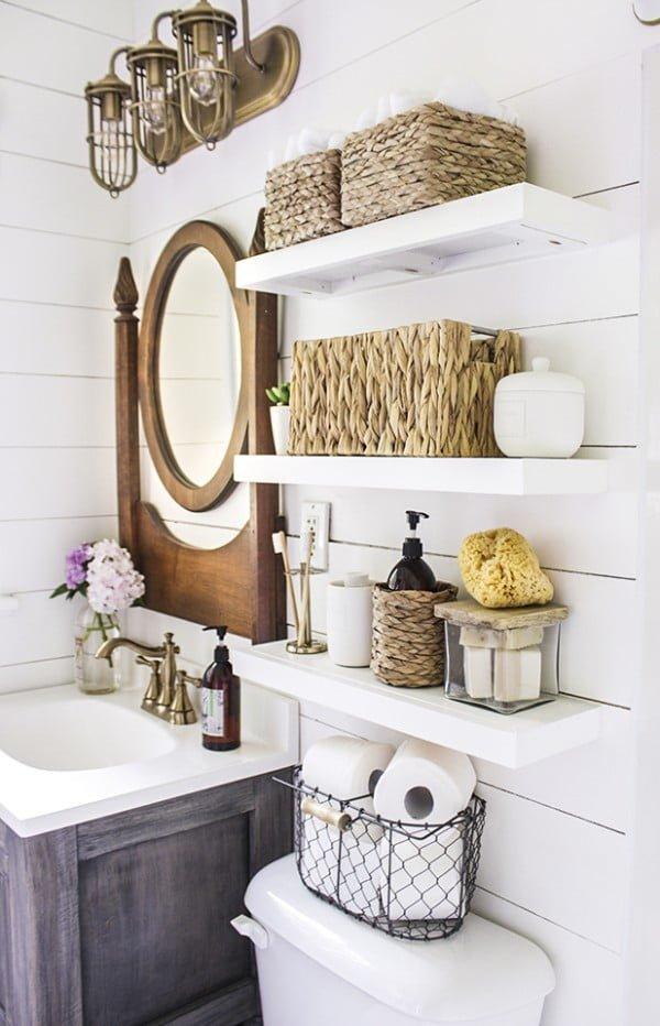 DIY Floating Bathroom Shelves   decor