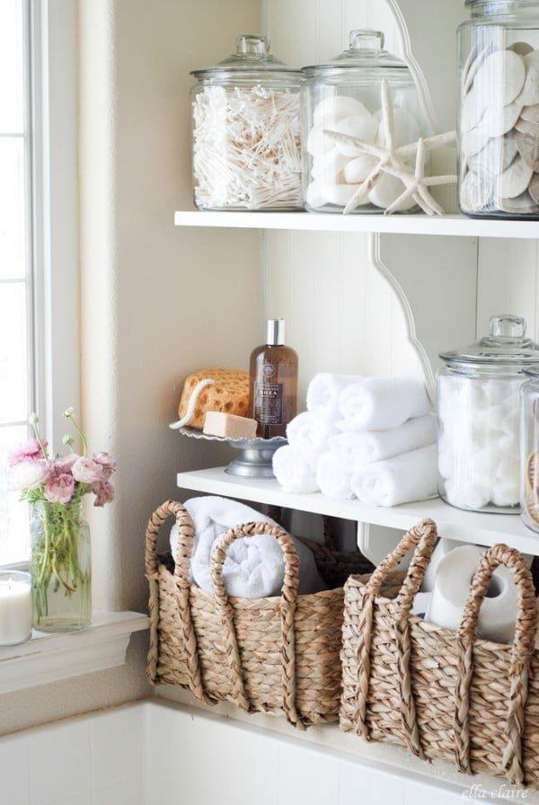 DIY Bathroom Linen Shelves   decor