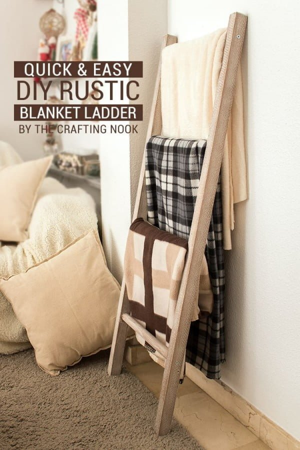 Quick & Easy DIY Rustic Blanket Ladder #DIY #woodworking #storage #organize #homedecor
