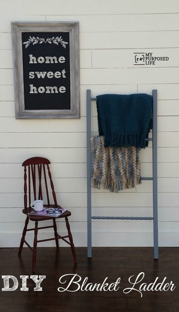 DIY Blanket Ladder Repurposed Crib Spindles #DIY #woodworking #storage #organize #homedecor