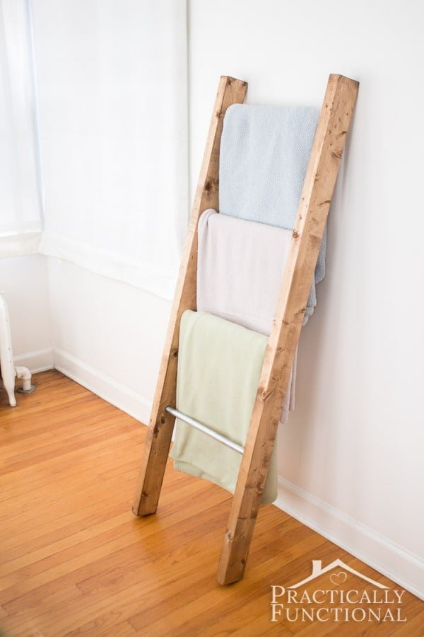 How To Make A Blanket Ladder || Practically Functional #DIY #woodworking #storage #organize #homedecor