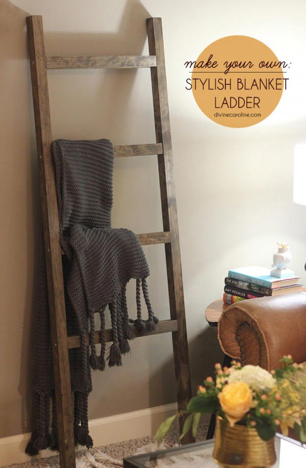 The DIY Blanket Ladder Even a Tool Newbie Can Make #DIY #woodworking #storage #organize #homedecor