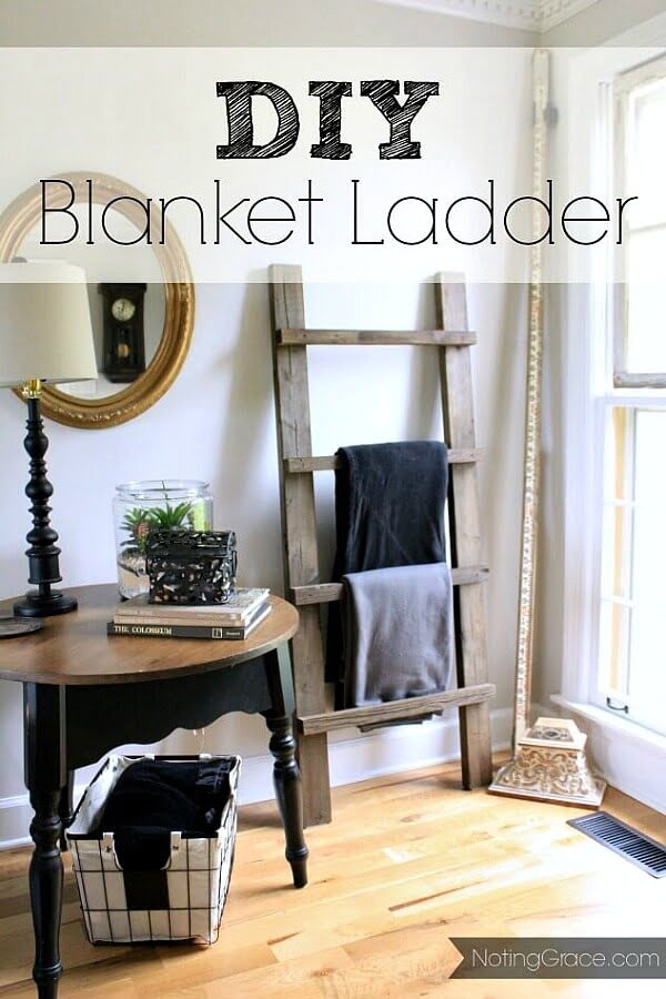 DIY Blanket Ladder #DIY #woodworking #storage #organize #homedecor