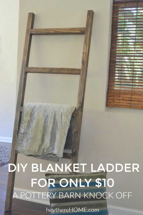DIY Blanket Ladder: Pottery Barn Knock Off (with video) #DIY #woodworking #storage #organize #homedecor