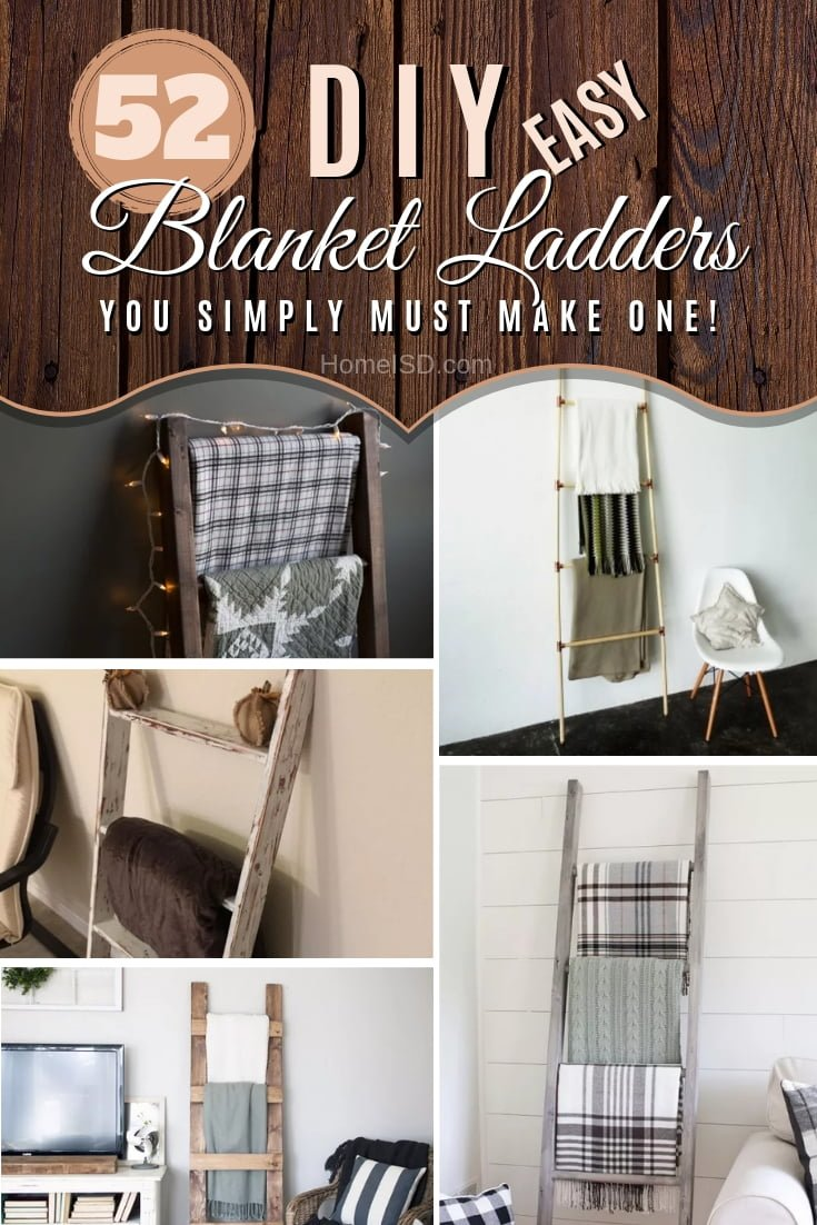 Easy and gorgeous home decor and storage with DIY blanket ladders. Great list! #DIY #woodworking #storage #organize #homedecor