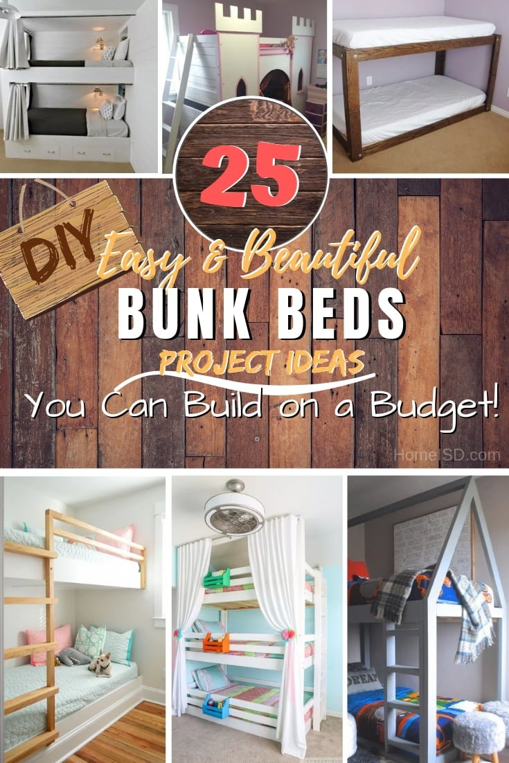 Need more beds for kids or guests? Bunk beds are quite underrated but they make the ideal solution in small spaces. Here are 25 easy DIY bunk bed ideas with plans. Great list! #DIY #woodworking #furniture #homedecor #bedroomdecor