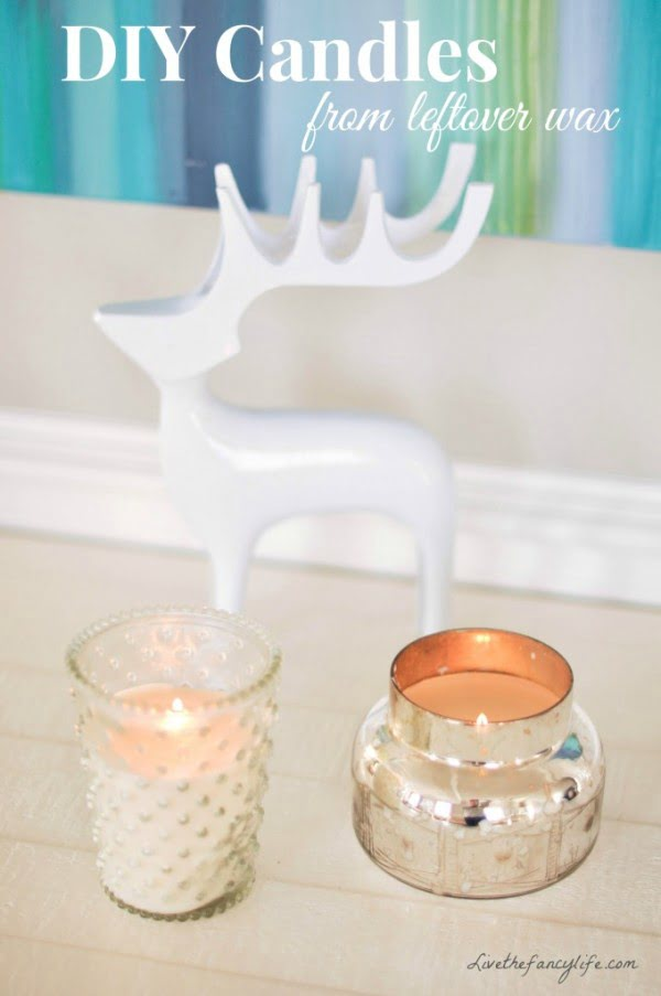 DIY: Making new candles out of leftover wax and old candle jars - #DIY #candle #homdecor #crafts