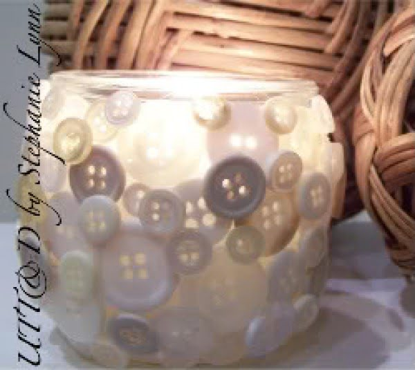 Cute as a Button #DIY #homedecor #crafts #candlejars