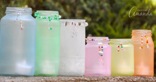 Beaded Frost Luminaries: these luminaries glow beautifully at night #DIY #homedecor #crafts #candlejars