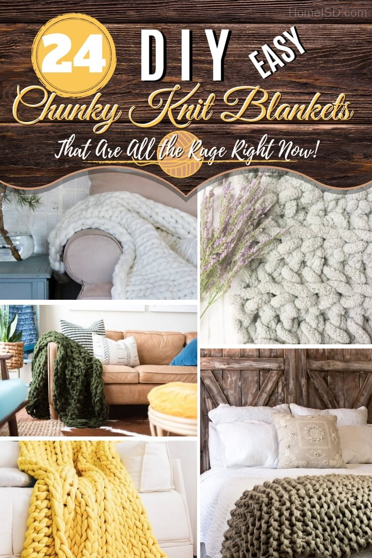 Make a DIY chunky knit blanket that everyone has to cozy up home decor. Great ideas! #DIY #crafts #knit #chunkyblanket #homedecor