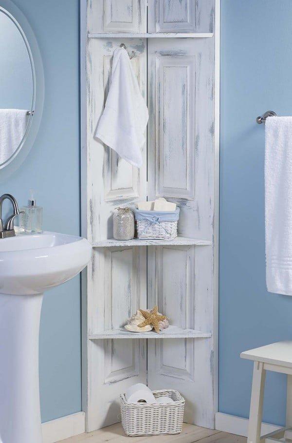 Build These Bathroom Corner Shelves from Bi-Fold Doors