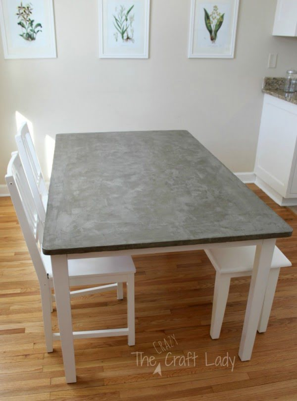 DIY Concrete Dining Table Top and Dining Set Makeover #DIY #furniture #homedecor #woodworking