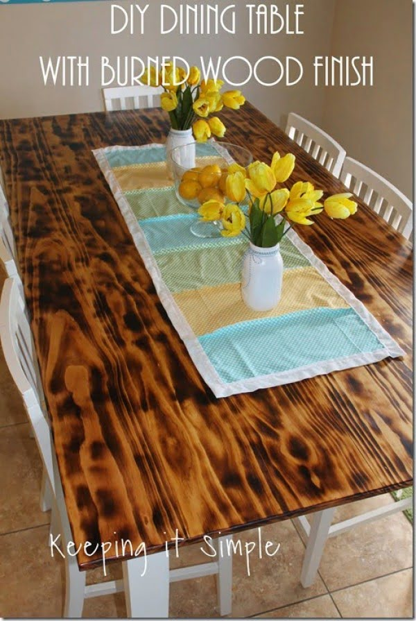 DIY Dining Table with Burned Wood Finish using a BernzOmatic Blow Torch • Keeping it Simple #DIY #furniture #homedecor #woodworking