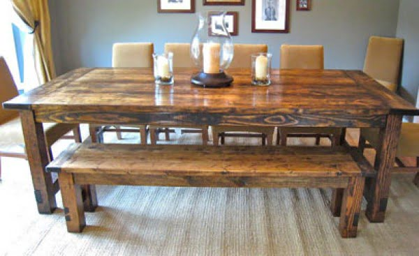 How to Make a DIY Farmhouse Dining Room Table: Restoration Hardware Knockoff #DIY #furniture #homedecor #woodworking