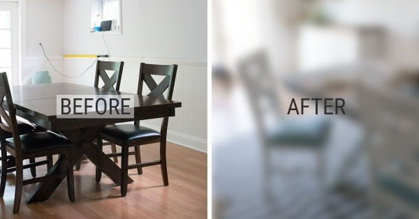 Before and After – DIY Chalk Paint Dining Table and Chairs #DIY #furniture #homedecor #woodworking