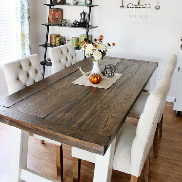 DIY Farmhouse Style Dining Table #DIY #furniture #homedecor #woodworking