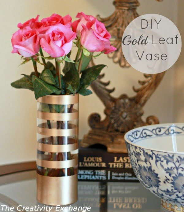 DIY Gold Leaf Vase {How to Paint on Glass}...