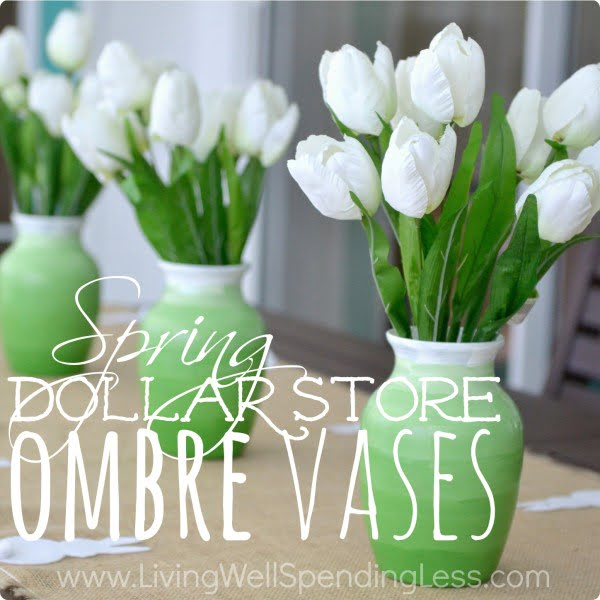 Dollar Store DIY Ombre Vases