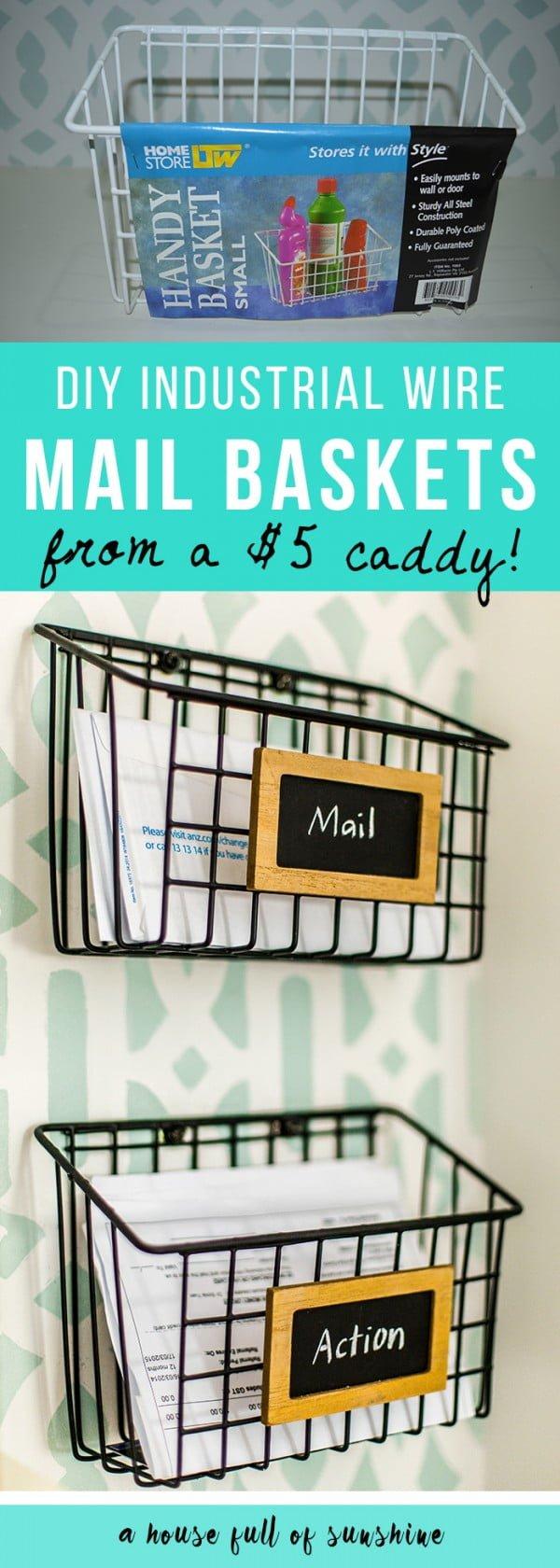 DIY industrial wire mail baskets