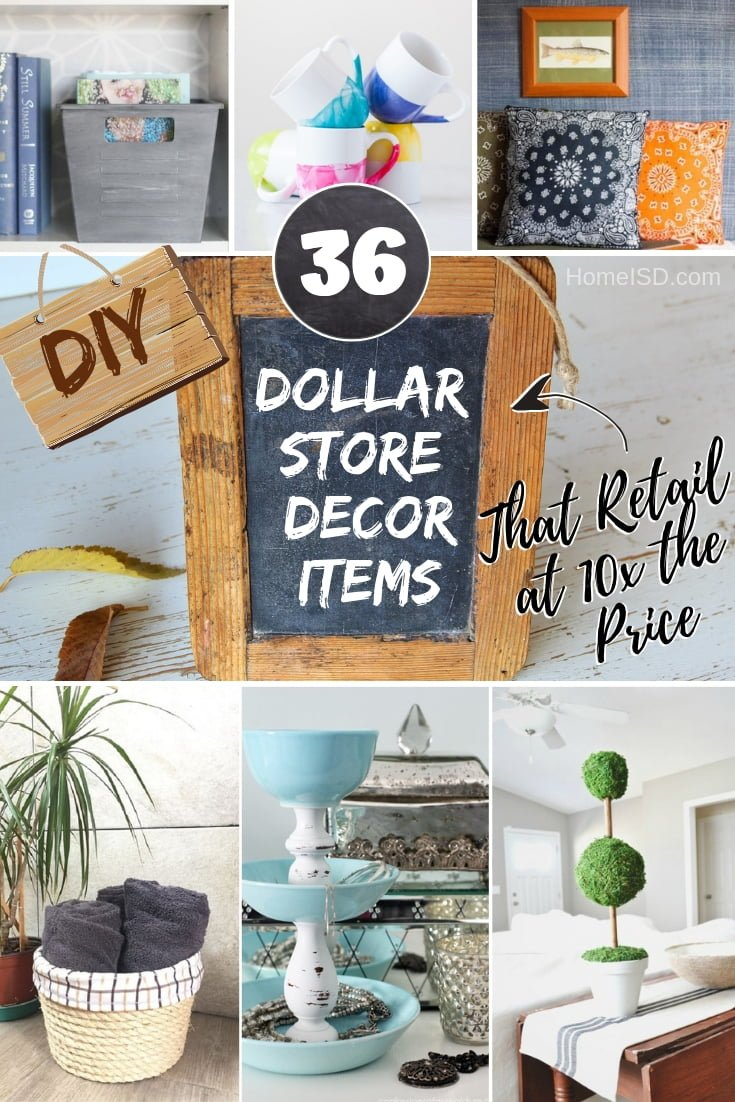 Here's how to make stylish decor form Dollar store items that retail at ten times the price. Great ideas! #DIY #dollarstore #homedecor #crafts
