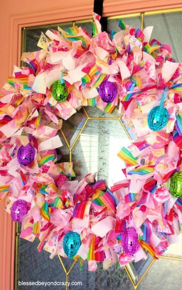 DIY Easter Rag Wreath -  wreath