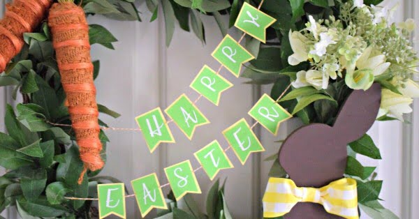 How to make this easy DIY Easter Wreath and Paper Banner  wreath