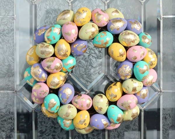 DIY Easter Wreath with Gold Leaf Speckled Eggs  wreath